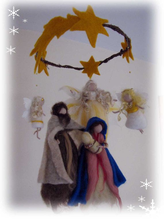 Holy Family needel felted mobile Waldorf inspried by LivelySheep, €82.00