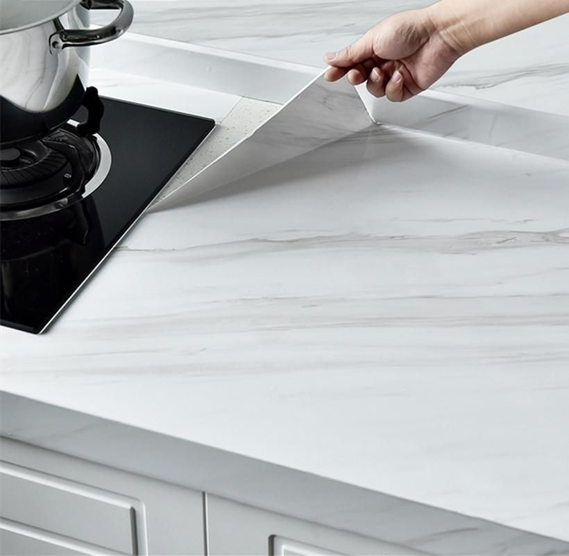 Marble Vinyl Film Self Adhesive Waterproof Wallpaper For Bathroom Kitchen Cupboard Countertops Contact Pap Marble Vinyl Peel And Stick Countertop Contact Paper