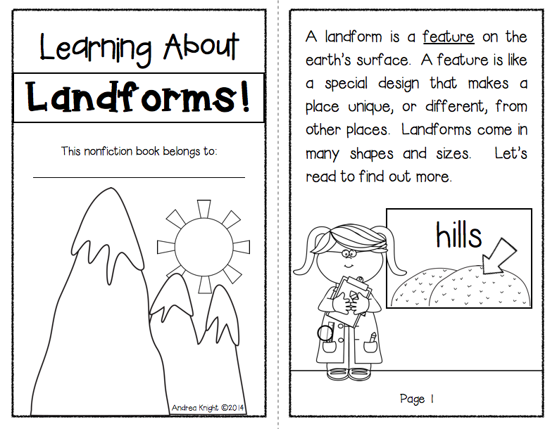 Learning About Landforms {Differentiated Materials for Grades1-2 ...