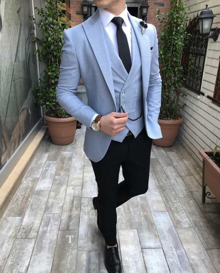539cdf35e9aab Terziademaltun - İtalyan stil slim fit erkek ceket yelek pantolon buz  mavisi takım elbise T2490