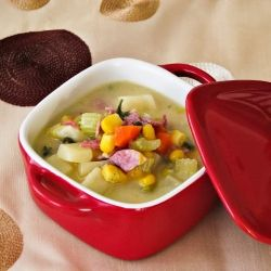 Delicious and guilt free veggie chowder with turkey bacon!