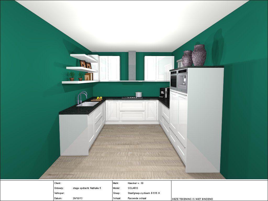Hoogglans witte u vorm keuken. zelf ontworpen tijdens mijn stage ...