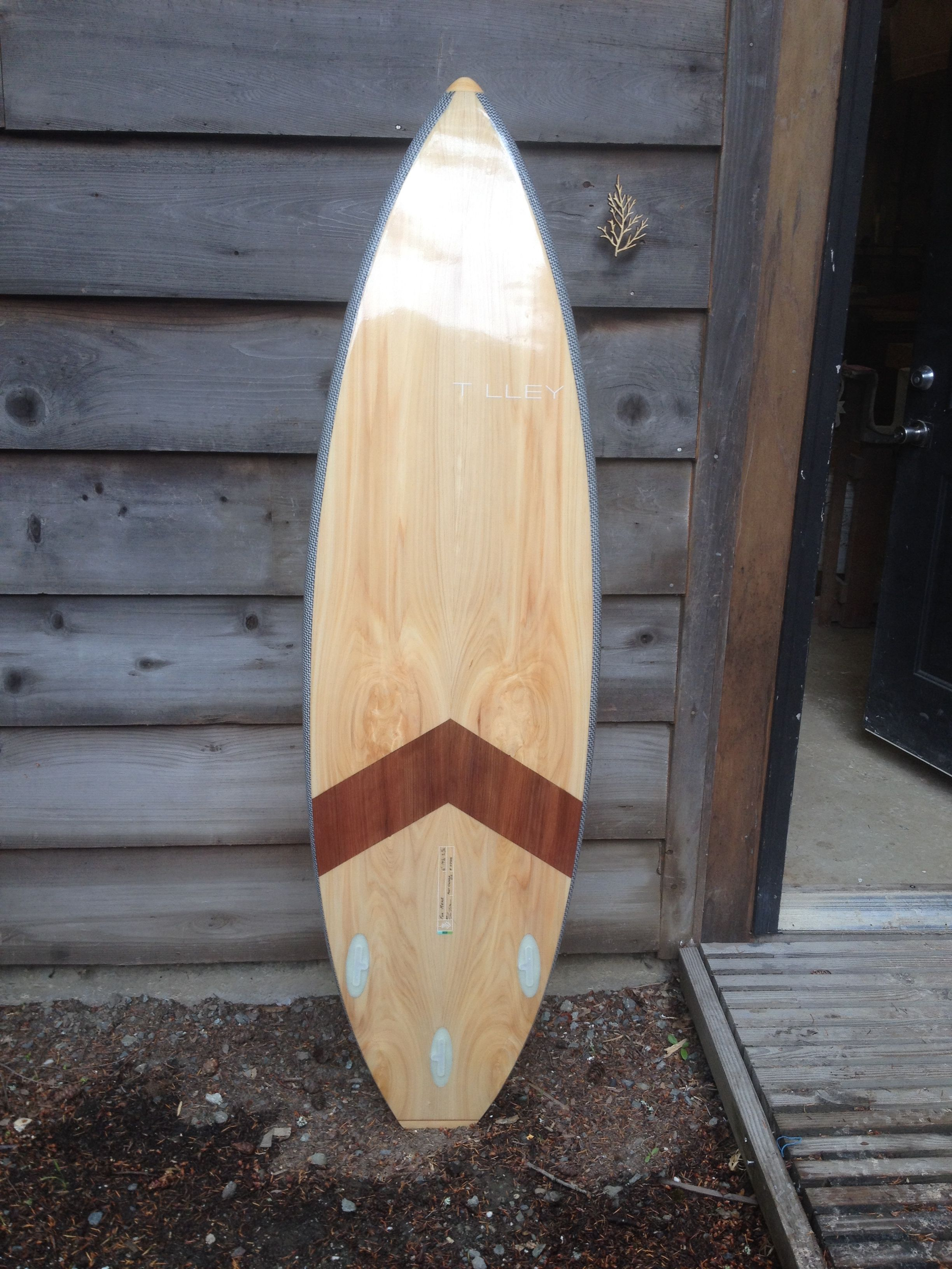 6' x 19 1/2 x 2 3/8 Kiteboard/surfboard in Port orford cedar, redwood, carbon/innegra