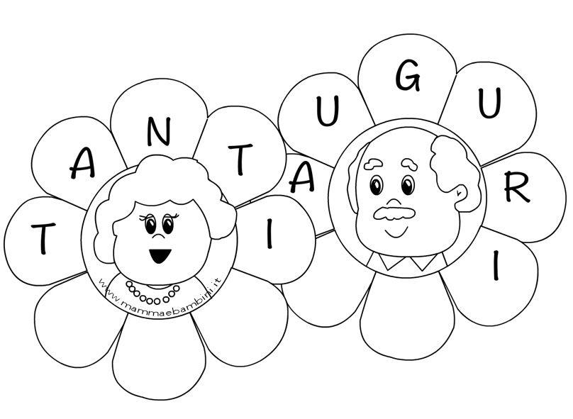 Disegni da colorare per la festa dei nonni potete for Fiori grandi da colorare