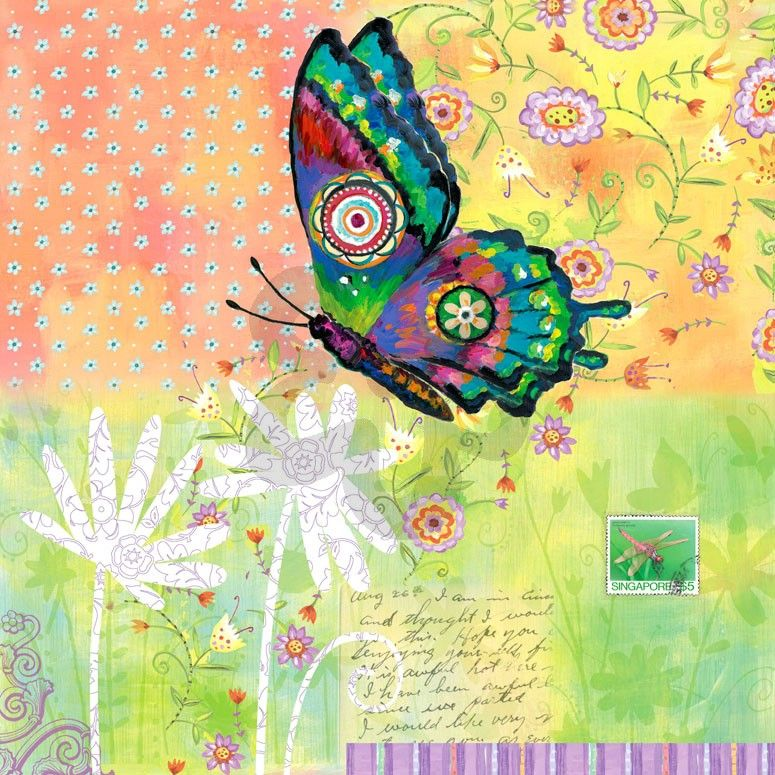 Fanciful Flight - Green Background - Bugs & Butterflies Canvas Wall ...