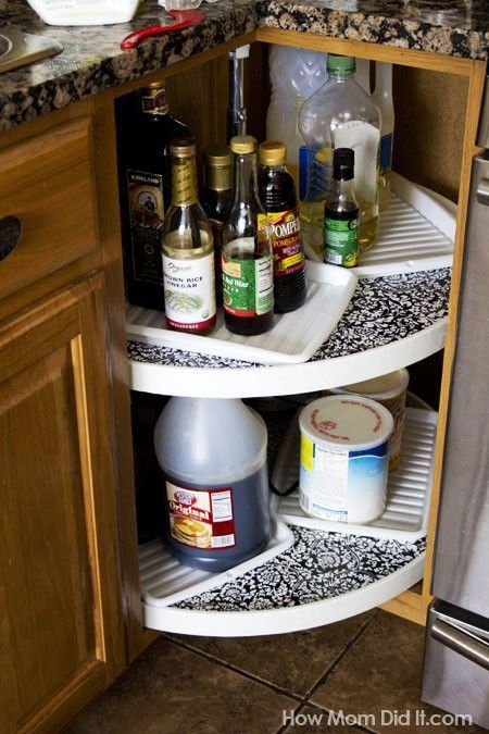 how to line a corner lazy susan cabinet with removable contact paper