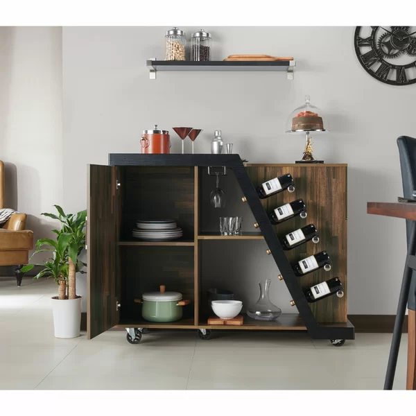 Brayden Studio Simonds Mobile Bar With Wine Storage Reviews Wayfair Ca In 2020 Wine Cabinets Furniture Of America Bar Furniture
