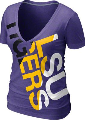 70f68de8 LSU Tigers Women's Purple Heather Nike Tri-Blend Deep V-neck T-Shirt ...