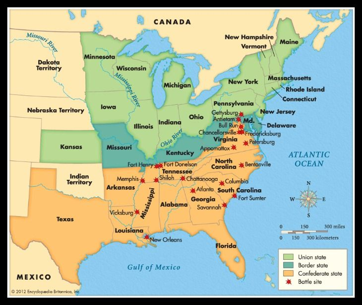A map of the states during the American Civil War Click on pin to