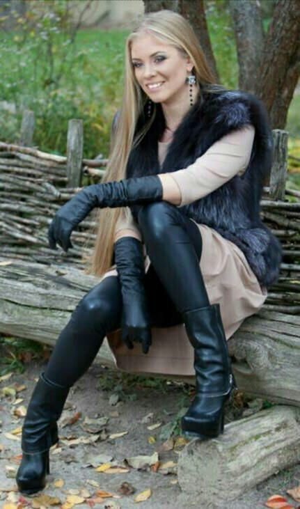 Taupe Dress Black Leather Gloves Leather Leggings Sheath