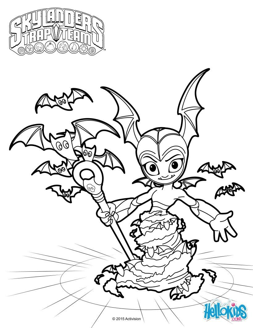 TBat Spin coloring page. More Skylanders trap team coloring sheets ...