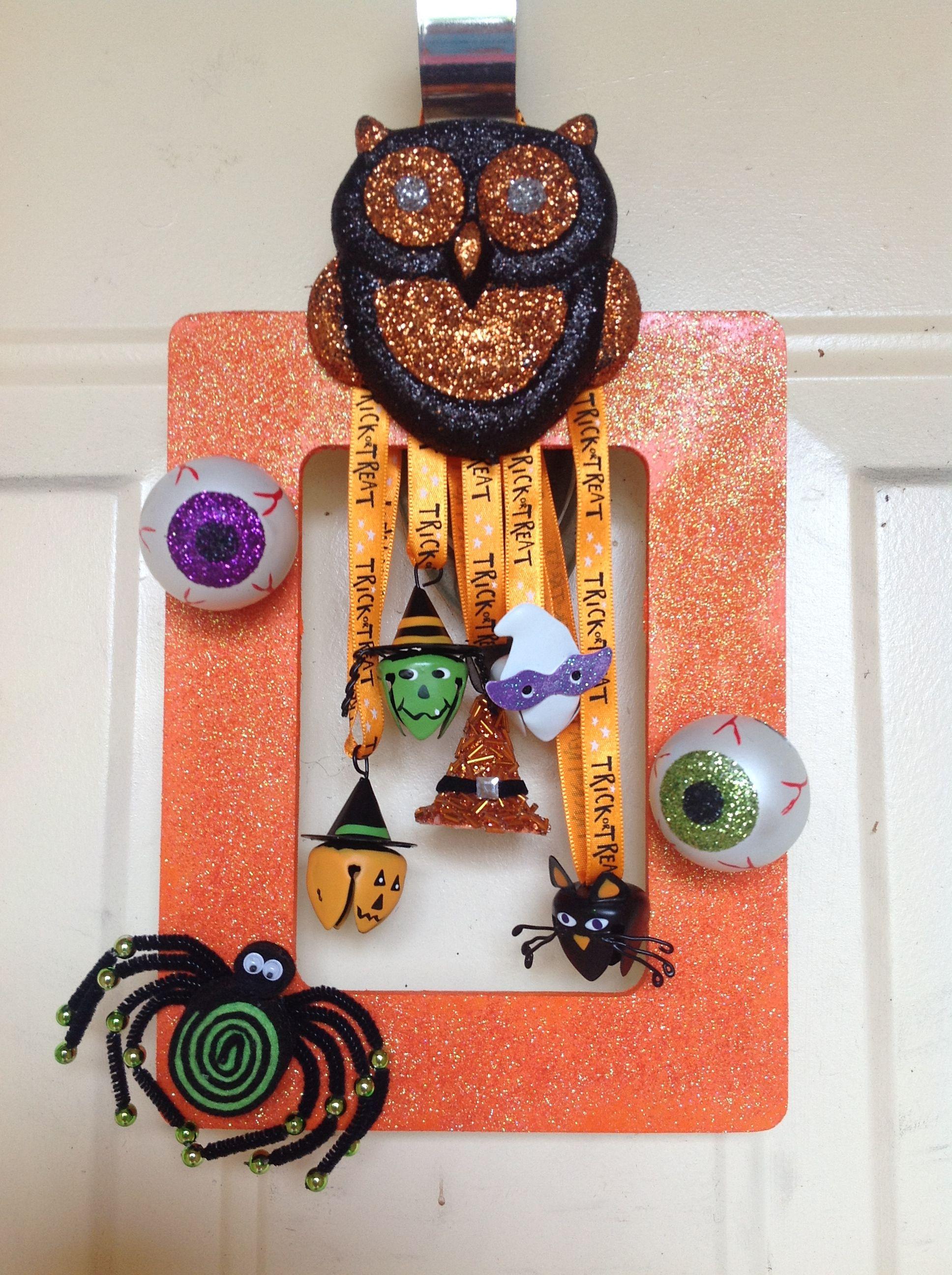 Halloween door decoration Wooden picture frame, ribbon and - door decoration halloween