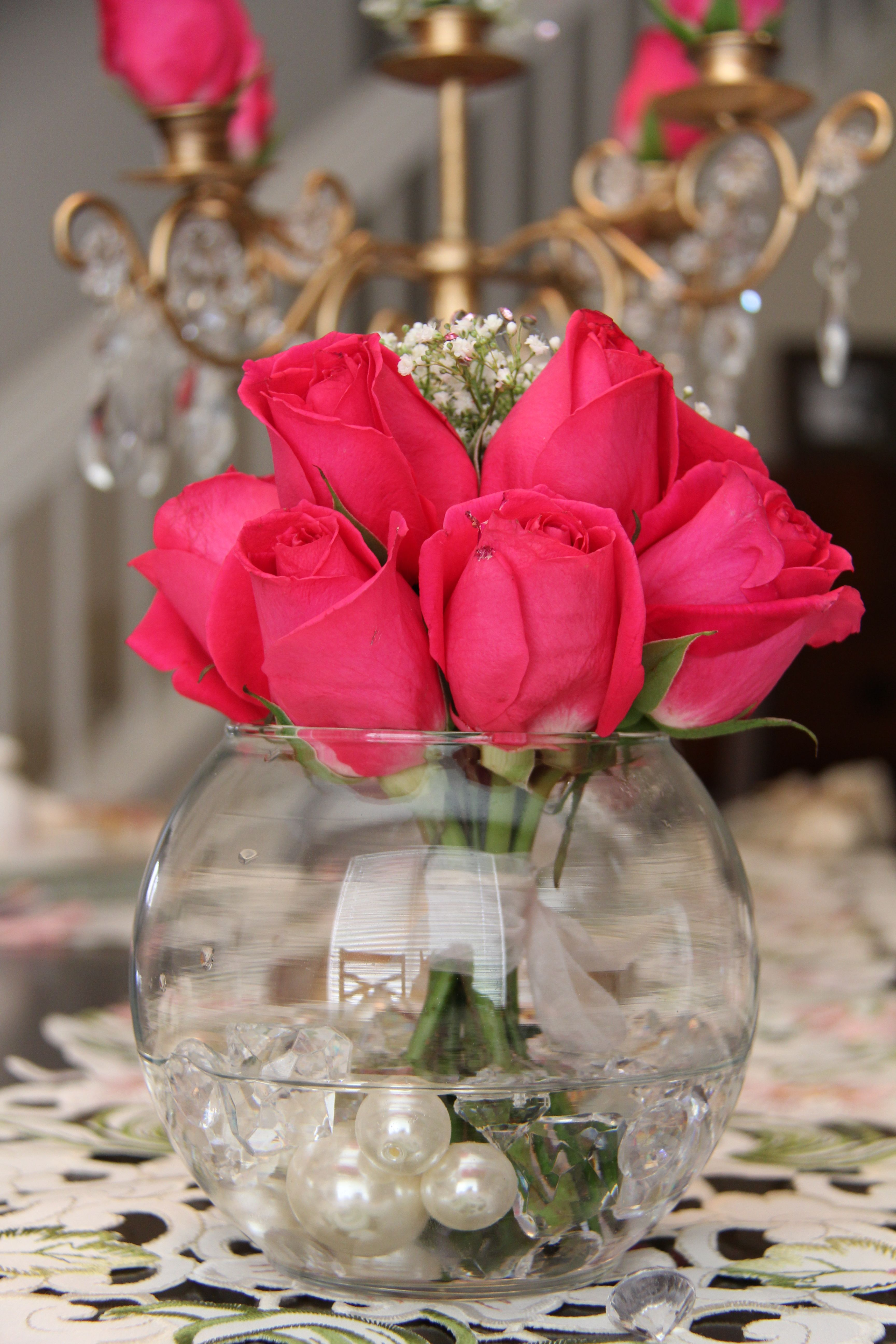 centerpiece roses and pearls perfect. Diy candle