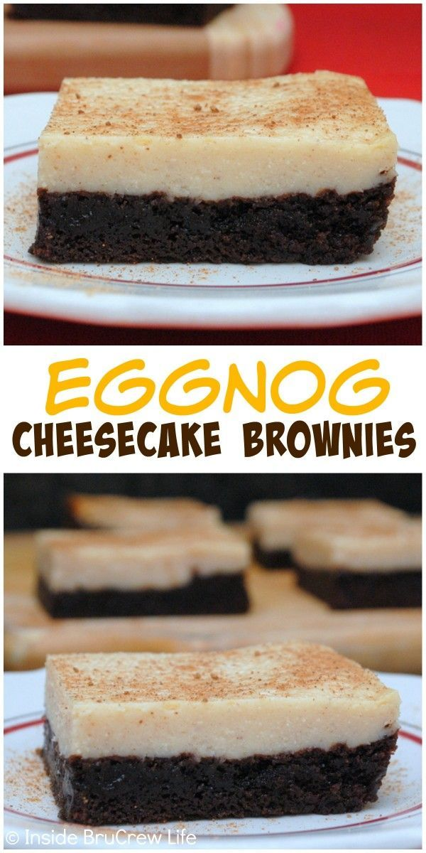 Eggnog cheesecake baked on fudge brownies makes a delicious holiday treat that you need to try! #eggnogcheesecake