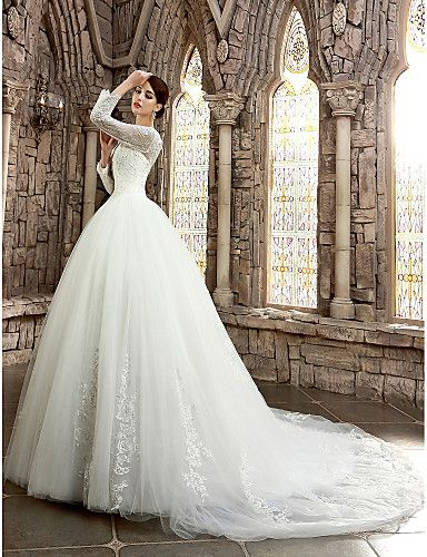 A Line Illusion Neckline Cathedral Train Satin Wedding Dress With Beading Liques By Ed Bridal