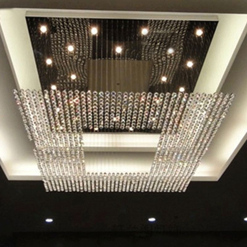 New square modern string big crystal chandeliers hotel lobby new square modern string big crystal chandeliers hotel lobby chandelier lighting free shipping mozeypictures Image collections