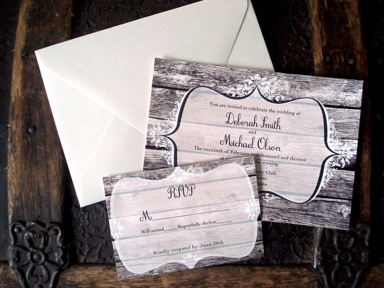 Rustic wood and lace wedding invitations. Western. Barn wood ...