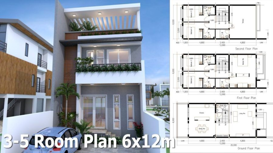 5 Bedrooms Modern Home Plan 6x12m Samphoas Plan Modern House Plans Architectural House Plans Narrow House Plans