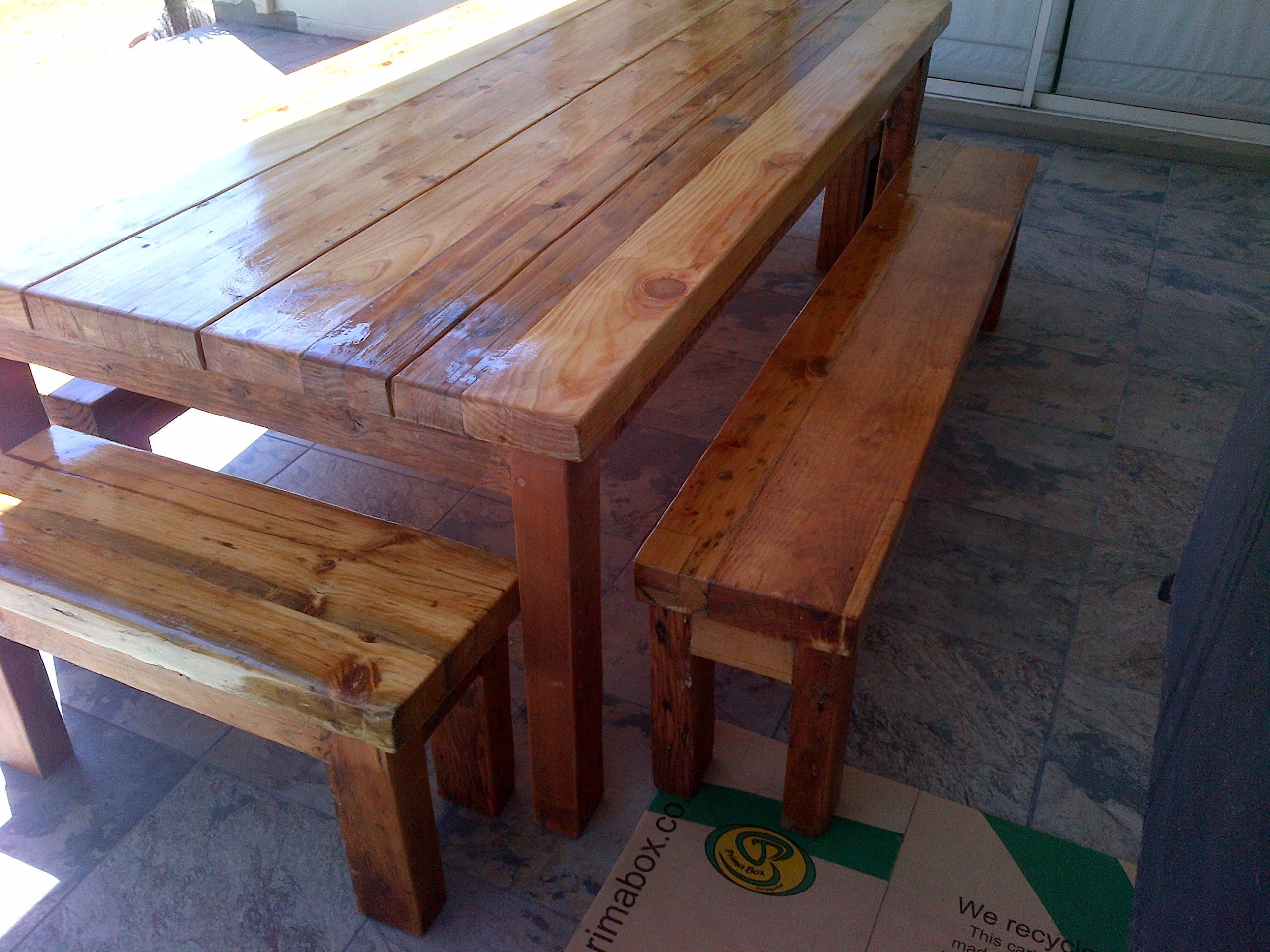 Rustic Dining Room Table Seats 10 Recycled And Reclaimed Wood With Natural Legs Oregon Pine Outdoors Benches