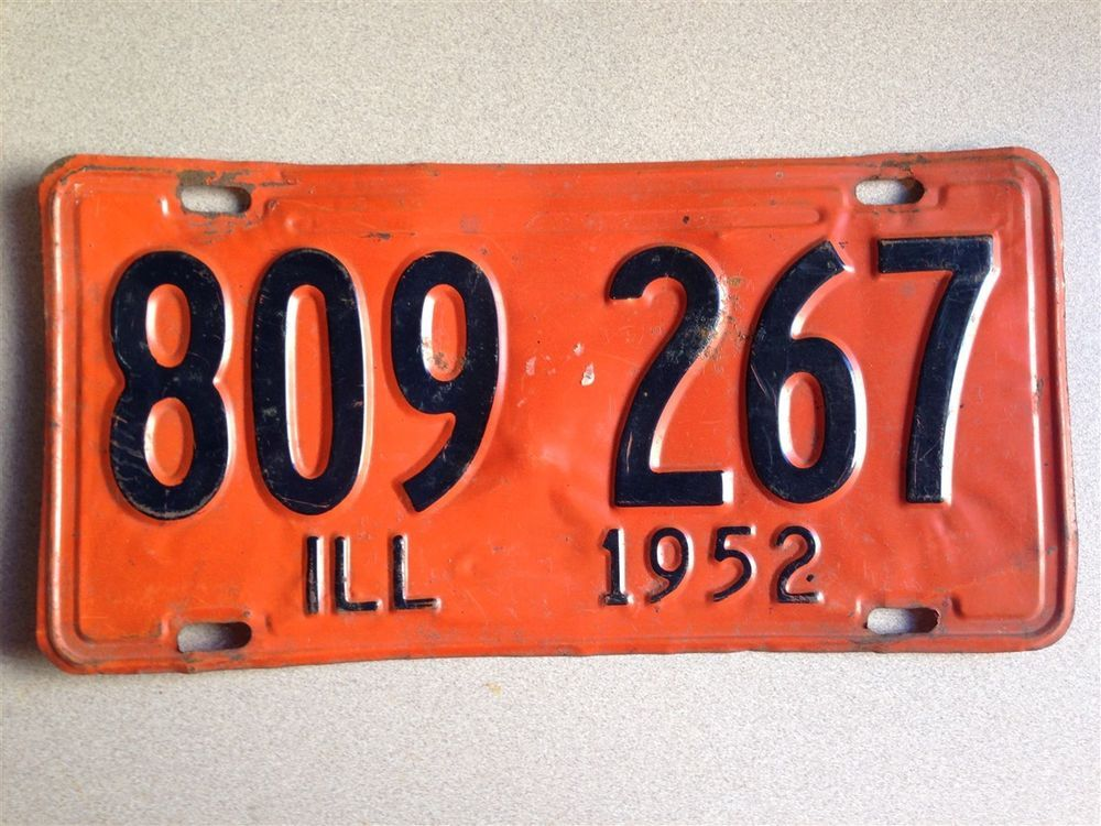 Vintage Illinois 1952 License Plate Land of Lincoln