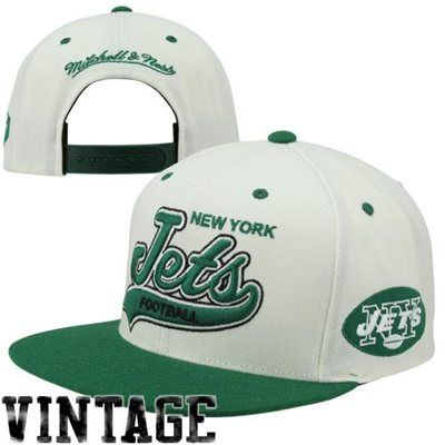 newest 1fe80 5d38c Mitchell   Ness New York Jets Throwback Script Tailsweeper Snapback  Adjustable Hat - Green Natural
