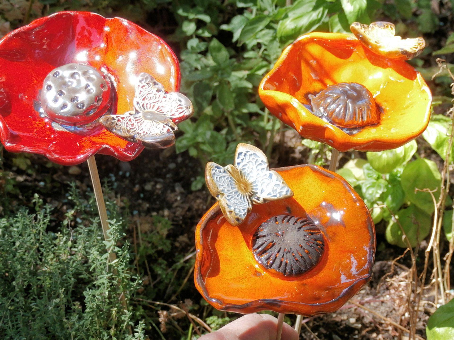 SUR COMMANDE coquelicot - 9 à 10cm - 1 décoration de jardin ...