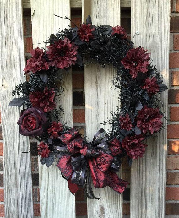 halloween wreath fall wreath goth wreath by