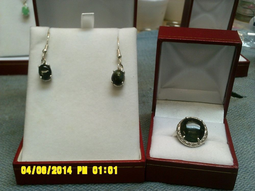 Frank's rock shop: two piece ladies ring and earrings from blue Tiger eye. #TobeadinnerringroundallinSterlingsilver
