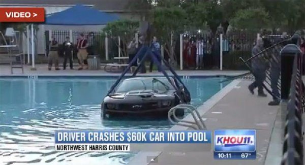 Texas teen tries to cannonball his car into a pool!
