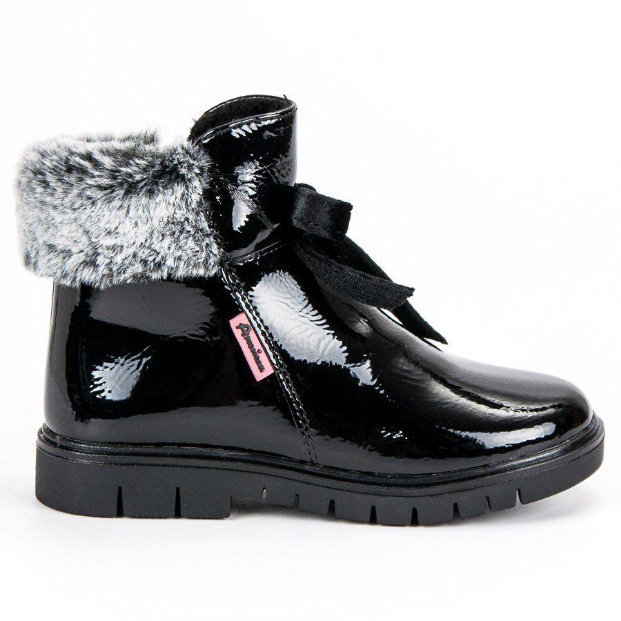 Kozaki Dla Dzieci Americanclub American Club Czarne Lakierowane Botki American Boots Winter Boot Shoes