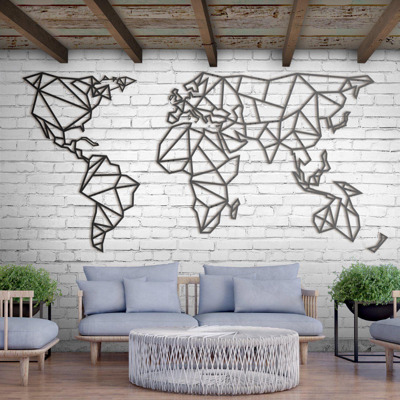 Yeni Metal Deco World Map Xxxl Ethnic Home Design