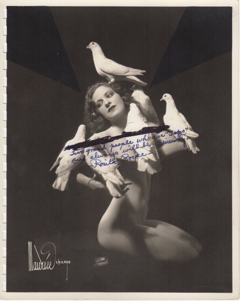 *ROSITA ROYCE (c.1940s) Exotic Dancer 8x10 Nude with Birds by MAURICE OF  CHICAGO