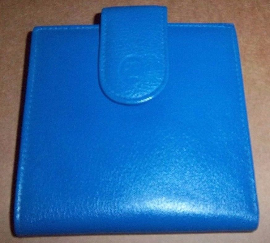 BUXTON Velvet Nappa Cowhide Blue Bi Fold Wallet Includes Zipper Change Pocket #Buxton #Bifold