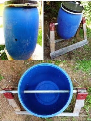 Good Ma Poubelle Est Un Jardin: Faire Un Composteur Rotatif Avec Un Baril Bleu  De Plastique