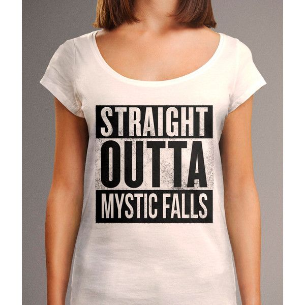 Straight Outta Mystic Falls Shirt the Vampire Diaries Shirt Straight... (42 CAD) ❤ liked on Polyvore featuring tops, t-shirts, grey, women's clothing, scoop neck tee, cotton t shirt, scoop neck t shirt, gray shirt and grey shirt