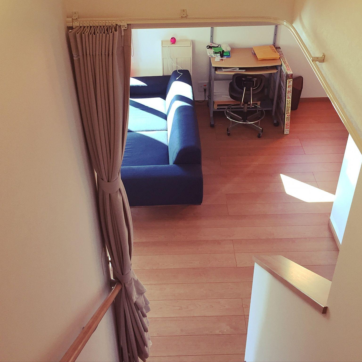 リビング 建売住宅 カーテン リビング階段 リビング階段寒さ対策