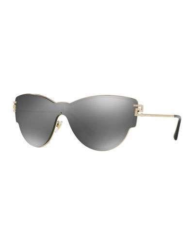 b3049b762 Versace Mirrored Shield Cat-Eye Sunglasses, Gray | Versace ...