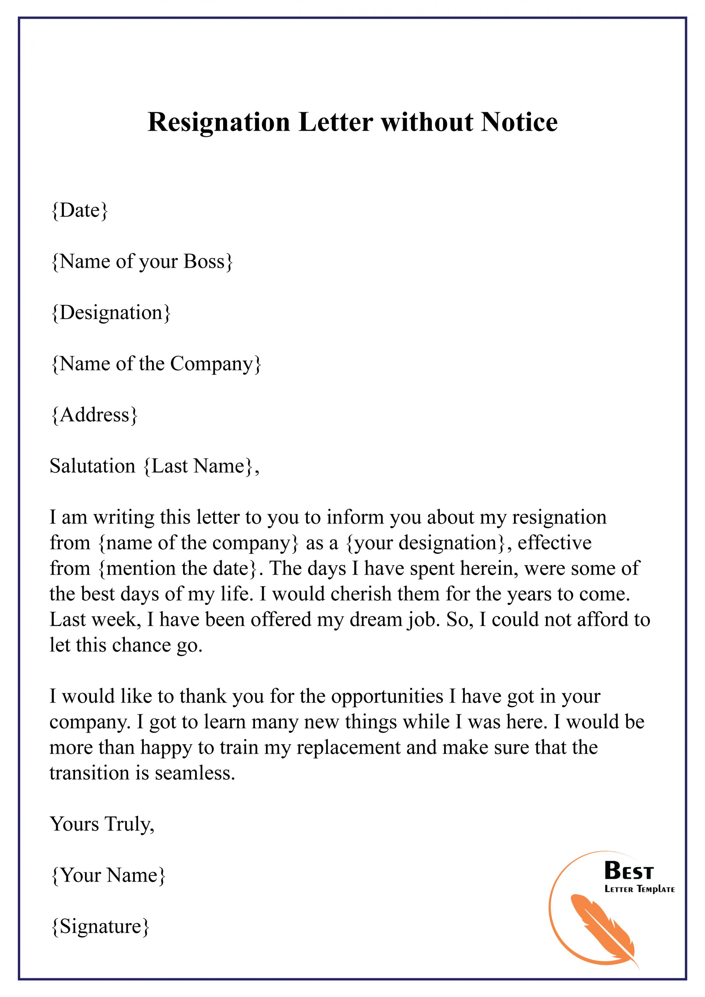 Explore Our Example of Resignation Letter Without Notice Template