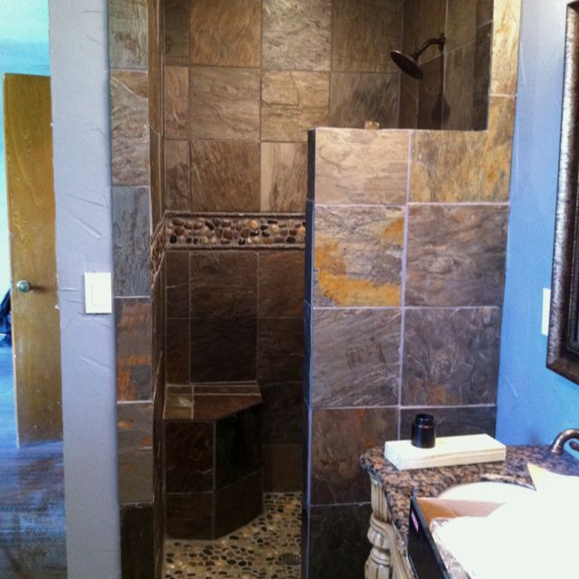 Door Solution For Open Master Bathroom: I Like This Shower Set Up For Guest Bath But I Don't Like