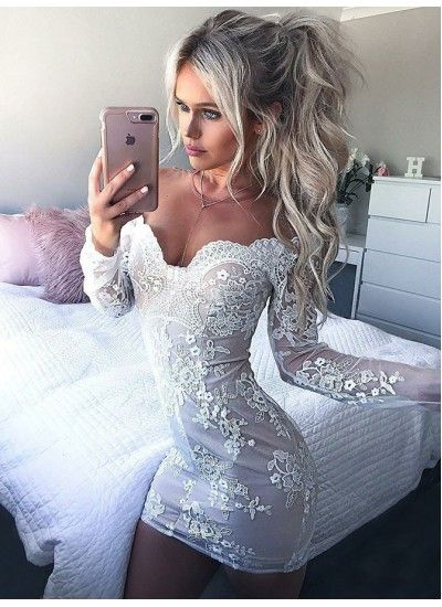 Photo of Outlet Bewundernswertes Partykleid mit Ärmeln, Appliques Homecoming Dress, Homecoming Dress White