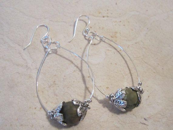 Green Hoop Earring/Green Bead Earrings/Green by edanebeadwork, $10.00