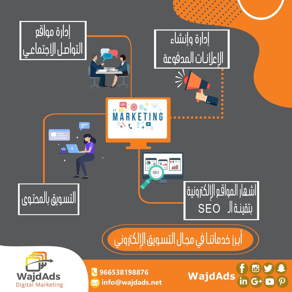 خدمات التسويق الالكتروني في Wajdads 1 إدارة وإنشاء صفحات مواقع التواصل الاجتماعي 2 اعلانات السوشيال ميديا 3 Postcard Design Digital Marketing Seo Marketing