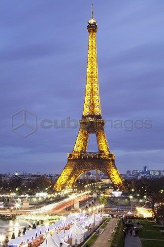 Eiffel Tower and Christmas market, Paris, Ile de France, France, Europe