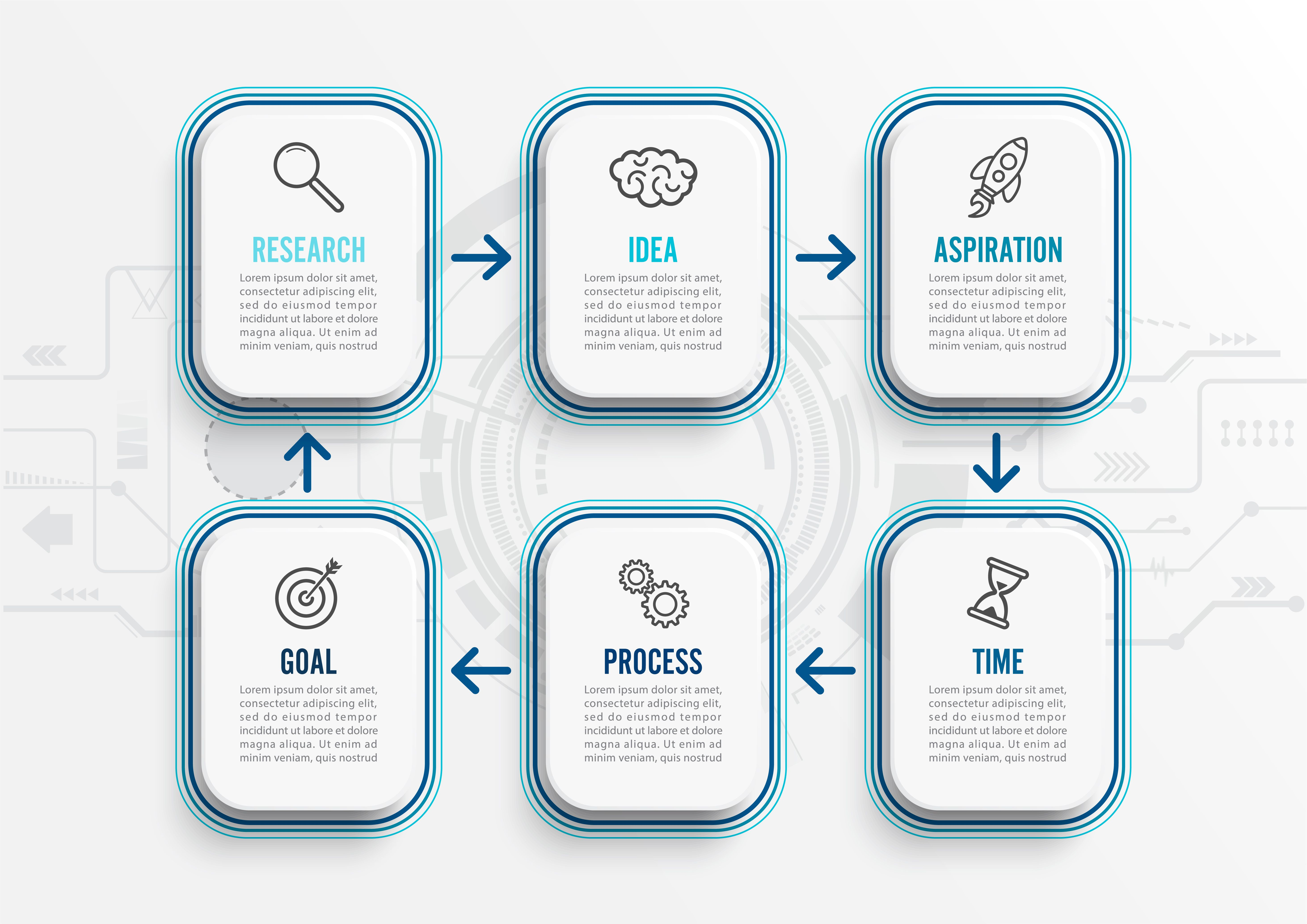Vector infographic template with icons and 6 options or