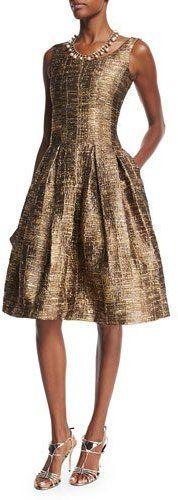 Oscar de la Renta Sleeveless Scoop-Neck Metallic Matelasse Dress, Dark Gold