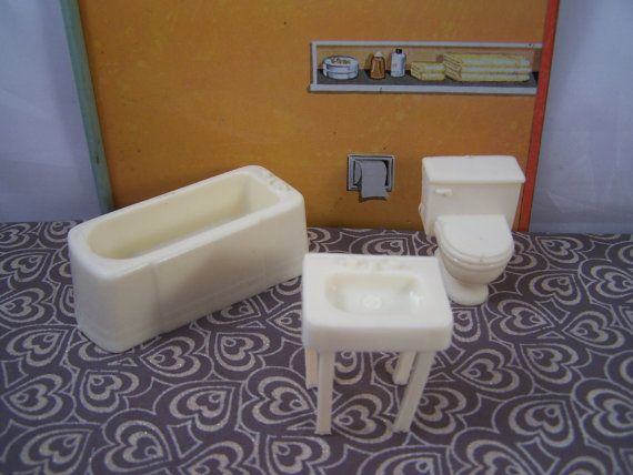 Marx Bathroom Tub Sink Toilet Toy Dollhouse Traditional Style