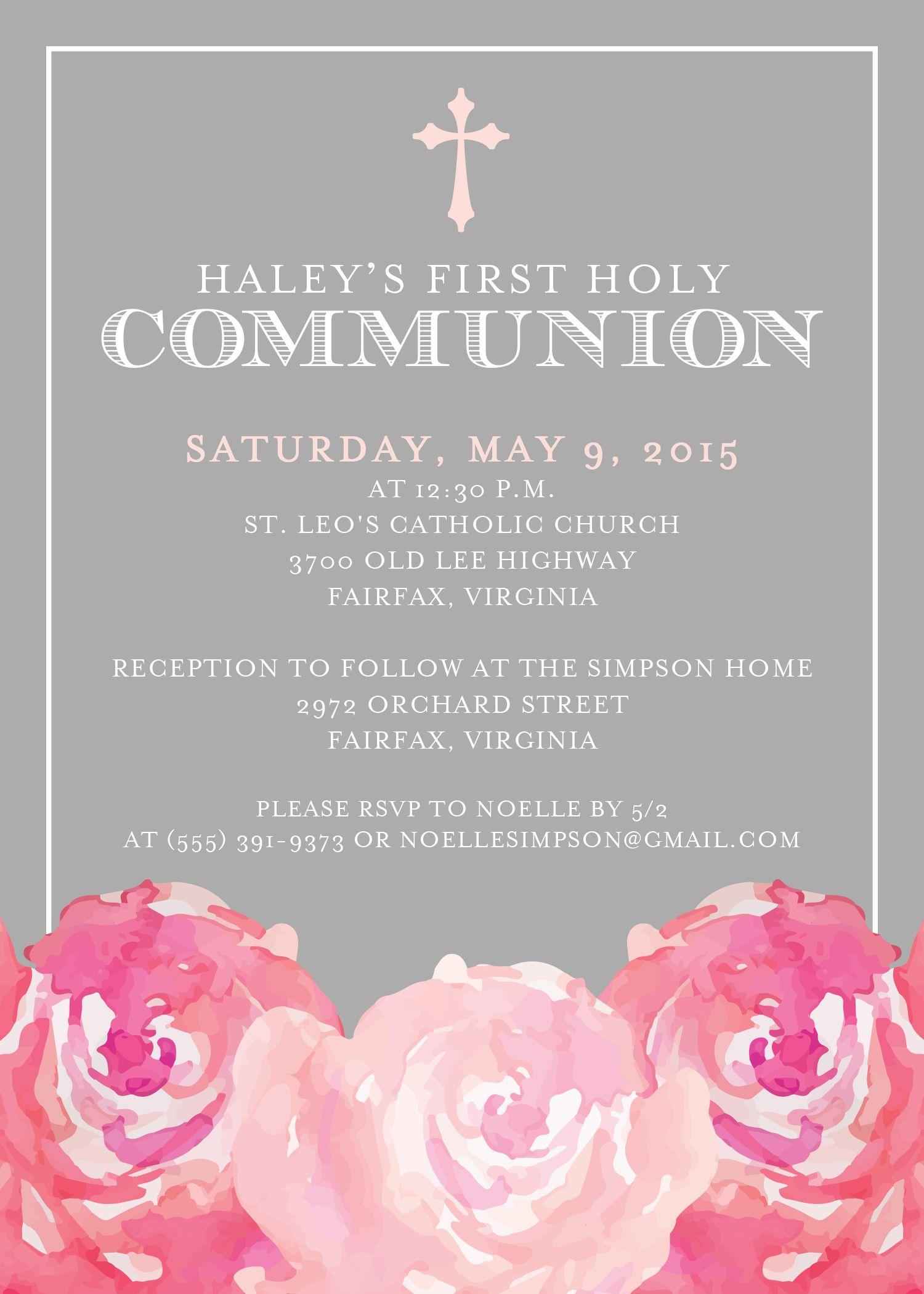 First Communion Invitation First Holy Communion Invitation