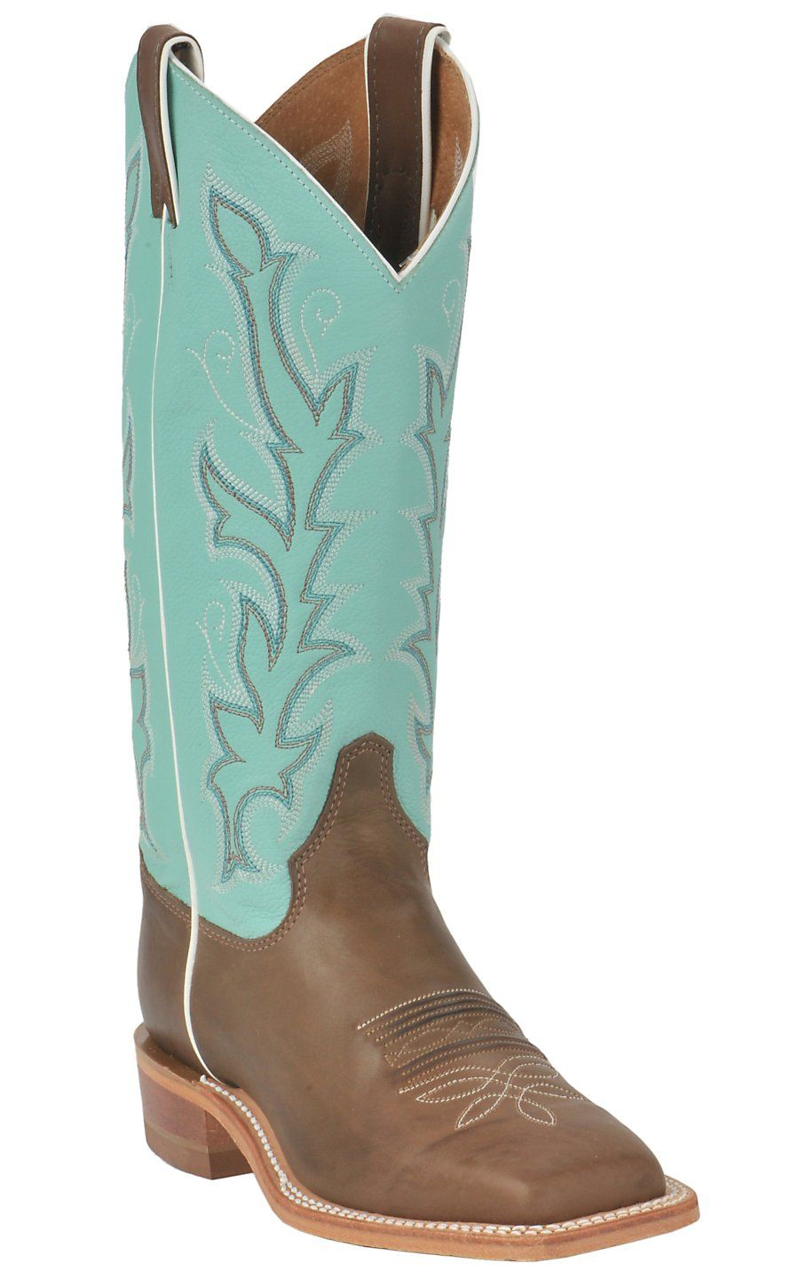 b975f85d4db Justin® Bent Rail™ Ladies Chocolate w/ Sea Green Top Square Toe ...