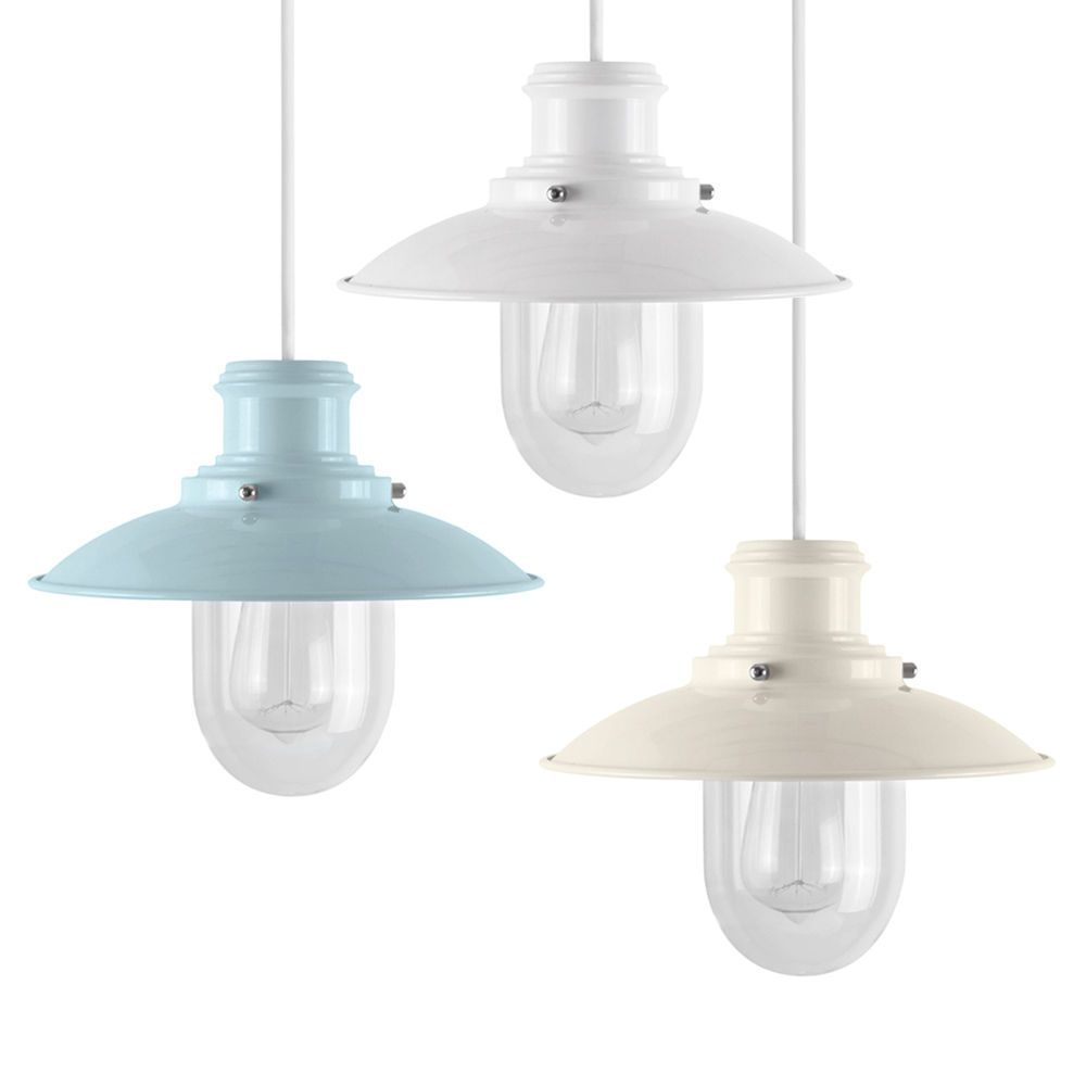 Large cut out dome metal lighting pendant shades cream - Cream Duck Egg Blue White Metal Fishermans Ceiling Pendant Light Lamp Shades