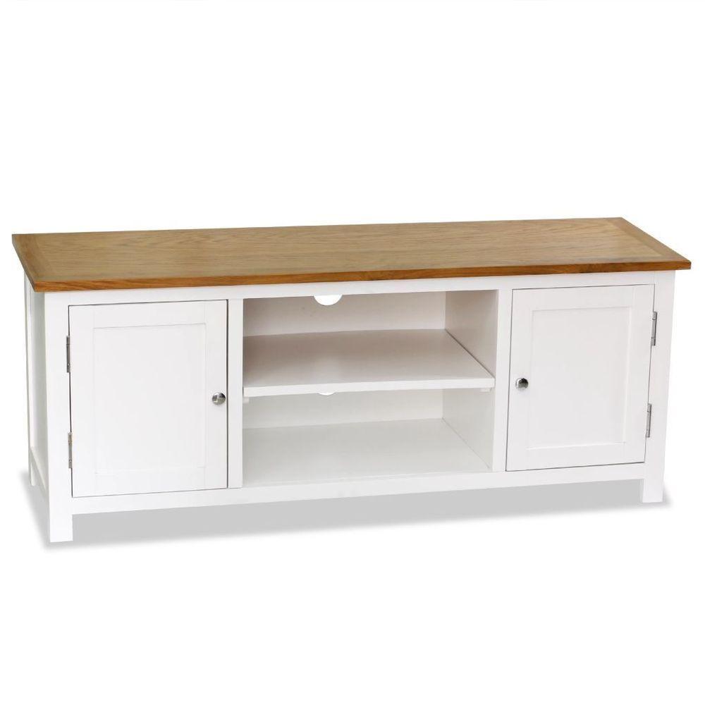 Large Oak Tv Stand 2 Cupboards Solid Wood Media Cabinet Storage Modern Furniture